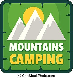 plat, style, moutains, camping, logo