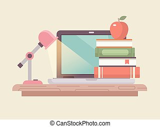 plat, style, ordinateur portable, livre, espace de travail, pile