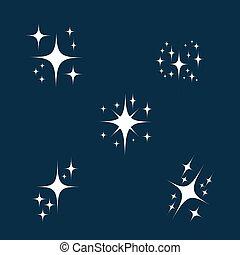 plat, style, ou, air., particule, scintillement, brillant, étoile, set., isolé, illustration, brûler, éclat, incandescent, vecteur, chatoiement, dessin animé, icône