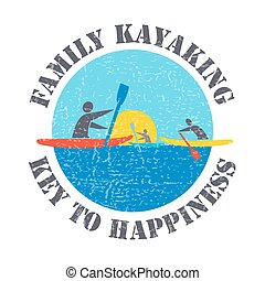 "plat, style, ou, clã©, gens, kayaks, kayaking, happiness"", illustration, signature, ""family, vecteur, conception, arrière-plan., gabarit, textured, impression, ton, article"