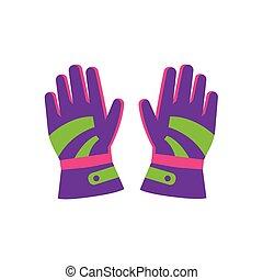 plat, style, paire, gants, ski, snowboarding