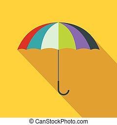 plat, style, parapluie, coloré, icône, ouvert