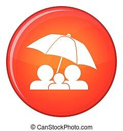 plat, style, parapluie, famille, sous, icône