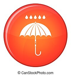 plat, style, parapluie, pluie, icône, gouttes
