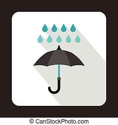 plat, style, parapluie, pluie, noir, icône, gouttes