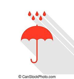 plat, style, parapluie, symbole., eau pluie, drops., protection, conception, ombre, path., style., rouges, icône