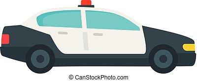 plat, style, patrouille, surveiller voiture, icône