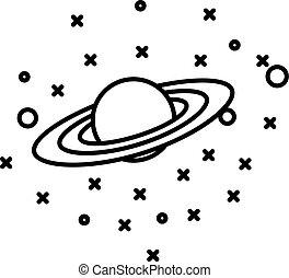 plat, style, planète, étoiles, devant, saturne