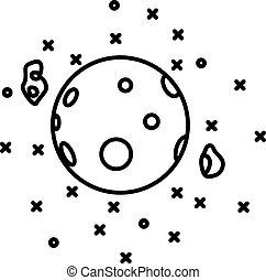 plat, style, planète, étoiles, mars, devant