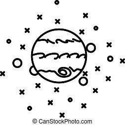 plat, style, planète, jupiter, étoiles, devant