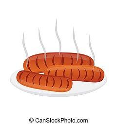 plat, style, plaque., saucisses, barbecue, frais, dessin animé