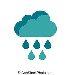 plat, style, pluie, icône, gouttes, nuage