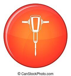 plat, style, pneumatique, icône, plugger, marteau