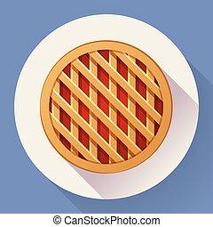 plat, style, pomme, doux, tarte, conçu, icon.