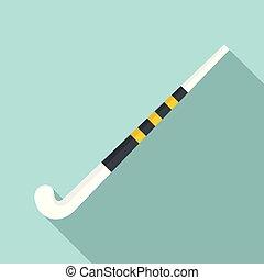 plat, style, présentez hockey, icône, crosse