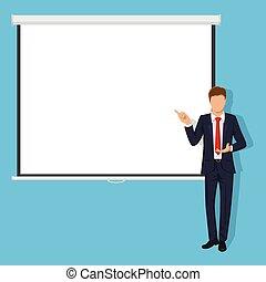 plat, style, projection, business, donner, moderne, screen., prof, presentation., conférence, vide, formation, ou, séminaire