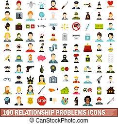 plat, style, relation, icônes, ensemble, problèmes, 100