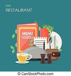 plat, style, restaurant, illustration, vecteur, conception, services
