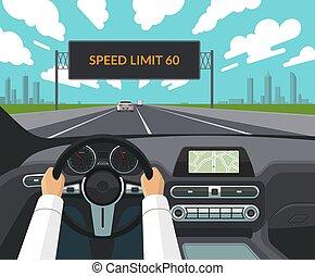 plat, style, roue, électronique, concept., informating, sur, conduire, conducteur, tableau bord, sécurité, intérieur, mains, panneau affichage, trafic, limit., vitesse, direction, autoroute, voiture