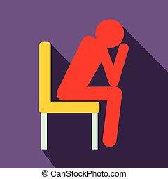 plat, style, séance, triste, icône, chaise, homme