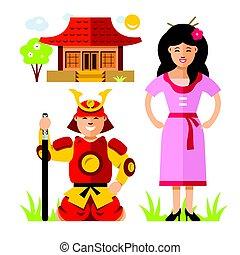 plat, style, samurai., illustration., coloré, vecteur, japon, dessin animé