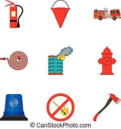plat, style, secours, ensemble, pompier, icône