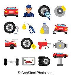 plat, style, service, automobile, parts., cars., pneus, vecteur, images, roues