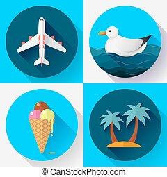 plat, style, set., conçu, tourisme, voyage, icône