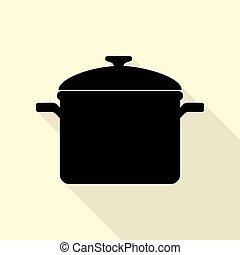 plat, style, signe., cuisine, arrière-plan., noir, sentier, ombre, icône, moule, crème