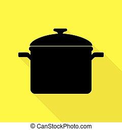 plat, style, signe., cuisine, jaune, arrière-plan., noir, sentier, ombre, moule, icône