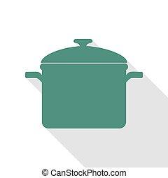 plat, style, signe., cuisine, veridian, ombre, path., moule, icône