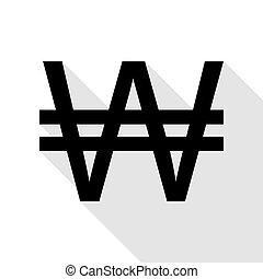 plat, style, signe., gagné, noir, ombre, path., icône