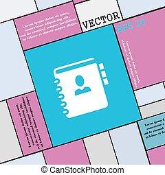 plat, style, signe., moderne, ton, téléphone, vecteur, adresse, cahier, icône, livre, design.