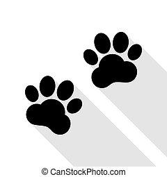 plat, style, signe., pistes, noir, animal, ombre, path., icône