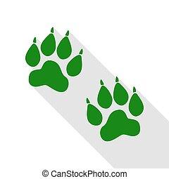 plat, style, signe., pistes, vert, animal, ombre, path., icône