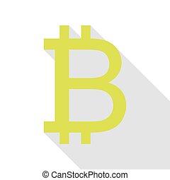 plat, style, signe., poire, bitcoin, ombre, path., icône