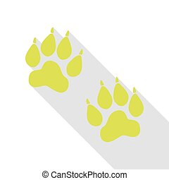 plat, style, signe., poire, pistes, animal, ombre, path., icône