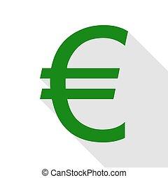plat, style, signe., vert, ombre, icône, path., euro