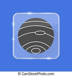 plat, style, silhouette, bouton, neptune, planète, transparent, icône