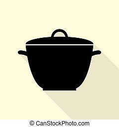plat, style, simple, signe., arrière-plan., noir, casserole, sentier, ombre, icône, crème