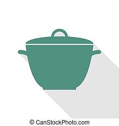 plat, style, simple, signe., casserole, veridian, ombre, path., icône
