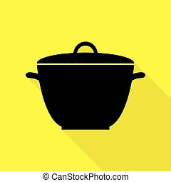plat, style, simple, signe., jaune, arrière-plan., noir, casserole, sentier, ombre, icône