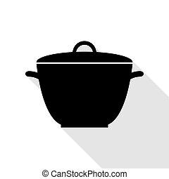 plat, style, simple, signe., noir, casserole, ombre, path., icône