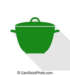 plat, style, simple, signe., vert, casserole, ombre, path., icône