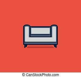 plat, style, sofa, isolé, fond, rouges, icône