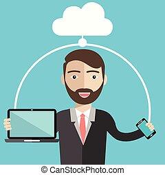 plat, style, stockage, laptop., illustration, téléphone, vecteur, conception, intelligent, homme affaires, utilisation, nuage