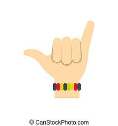 plat, style, surfers, shaka, icône, signe