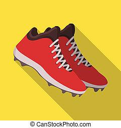 plat, style, symbole, web., illustration, bitmap, unique, sneakers., base-ball, icône, raster, stockage