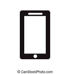 plat, style, téléphone portable, noir, blanc, icône