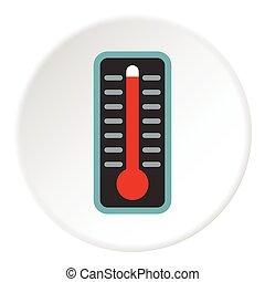 plat, style, température, élevé, thermomètre, icône